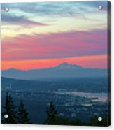 Vancouver Bc Cityscape With Cascade Range Morning View Acrylic Print