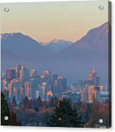Vancouver Bc Downtown Cityscape At Sunset Panorama Acrylic Print