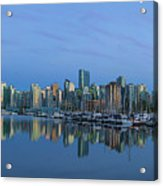 Vancouver Bc Skyline During Blue Hour Panorama Acrylic Print