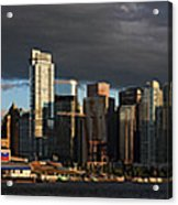 Vancouver City Sunset Panorama From Stanley Park Acrylic Print by Pierre Leclerc Photography
