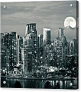 Vancouver Moonrise Acrylic Print by Lloyd K. Barnes Photography