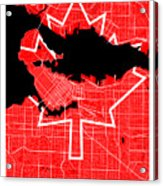 Vancouver Street Map - Vancouver Canada Road Map Art On Canada Flag Symbols Acrylic Print