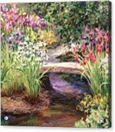 Vandusen Garden Iris Bridge Acrylic Print