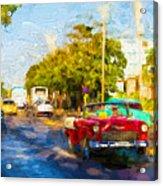 Vintage Cars In Varadero Acrylic Print