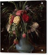 Vase Of Flowers And A Visiting Card Acrylic Print