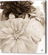 Vase Of Flowers In Sepia Acrylic Print