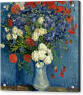 Vase With Cornflowers And Poppies Acrylic Print
