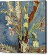 Vase With Gladioli And Chinese Asters Acrylic Print