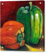 Vegetable Still Life Green And Orange Pepper Grace Venditti Montreal Art Acrylic Print