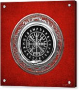 Vegvisir - A Silver Magic Viking Runic Compass On Red Leather  Acrylic Print