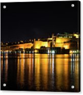 Velvety Reflections - Valletta Grand Harbour At Night Acrylic Print