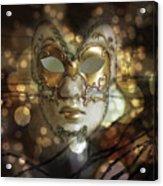 Venetian Golden Mask Acrylic Print