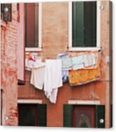 Venetian Laundry In Peach And Pink Acrylic Print