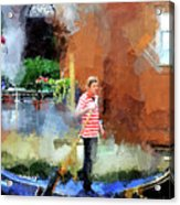 Venice Boat Rider Acrylic Print