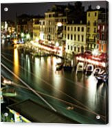 Venice Canal At Night Acrylic Print by Patrick English