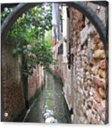 Venice Canal Through Gate Acrylic Print by Italian Art