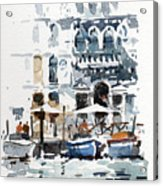 Venice Canal With Barges Acrylic Print