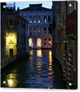 Venice Canals At Night Acrylic Print