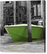 Venice Canals Green Boat Acrylic Print