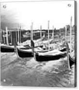 Venice Gondolas Silver Acrylic Print