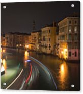 Venice Night Traffic Acrylic Print by Andrew Lalchan