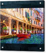Venice Red Boat And Outdoor Cafe Acrylic Print