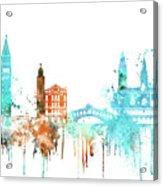 Venice Watercolor Skyline Acrylic Print