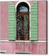 Venice Window In Pink And Green Acrylic Print