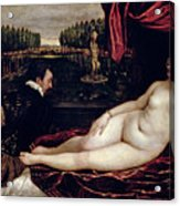 Venus And The Organist Acrylic Print by Titian