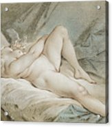 Venus Playing With Two Doves Acrylic Print