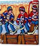 Verdun Hockey Rink Paintings Edmonton Oilers Vs Hometown Habs Quebec Hockey Art Carole Spandau       Acrylic Print