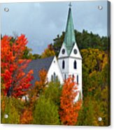 Vermont Church In Autumn Acrylic Print by Catherine Sherman