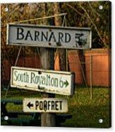 Vermont Crossroads Signs Acrylic Print