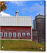 Vermont Farm Woodstock Vt Red Barn Acrylic Print