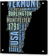 Vermont Word Cloud 1 Acrylic Print