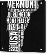 Vermont Word Cloud Black and White Map Acrylic Print