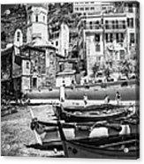 Vernazza Boats And Church Cinque Terre Italy Bw Acrylic Print