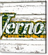 Vernors Beverage Company Recycled Michigan License Plate Art On Old White Barn Wood Acrylic Print