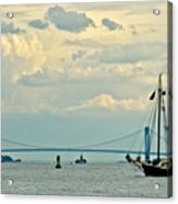 Verrazano Bridge With Schooner Acrylic Print