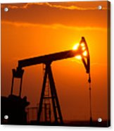 Vertical Oil Rig Sunset Acrylic Print by Connie Cooper-Edwards