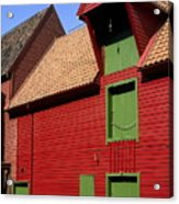 Vibrant Red And Green Building Acrylic Print