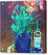 Vibrant Still Life Paintings - Poppies With Fruit And Wine - Virgilla Art Acrylic Print
