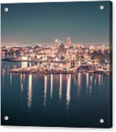 Victoria British Columbia City Lights View From Cruise Ship Acrylic Print