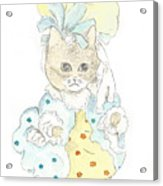 Victorian Cat In Blue And Yellow Acrylic Print