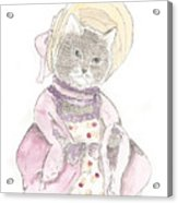 Victorian Cat In Purple Acrylic Print