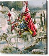 Victorian Christmas Card Depicting Saint Nicholas Acrylic Print