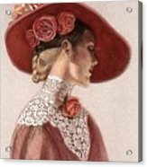 Victorian Lady In A Rose Hat Acrylic Print by Sue Halstenberg