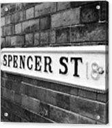victorian metal street sign for spencer street on red brick building in the jewellery quarter Birmin Acrylic Print