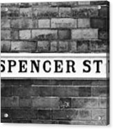 Victorian Metal Street Sign For Spencer Street On Red Brick Building In The Jewellery Quarter Acrylic Print
