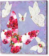 Victorian Wings, Fantasy Floral And Lace Butterflies Acrylic Print